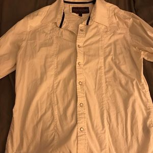 Rock and Roll Cowboy White Shirt Size L